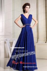 Royal Blue Mother of Bride Dress With V-neck Chiffon