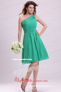 Turquoise Mother Dress with Bowknot and Ruching A-line One Shoulder