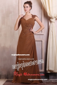 V-neck Column Chiffon Appliques with Beading Mother Dress in Brown