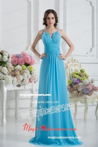 Empire Straps Ruching Baby Blue Floor-length Chiffon Mother Dress