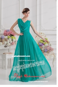 V-neck Empire Turquoise Chiffon Mother Dress with Ruching and Beading