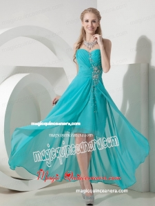 Sweet Turquoise High-low Sweetheart Mother Dress Chiffon Beading