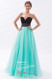 Black and Turquoise A Line Sweetheart Floor Length Tulle Beading Mother Dress