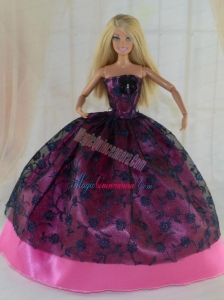 Elegant Ball Gown Party Clothes Lace Black and Hot Pink Barbie Doll Dress