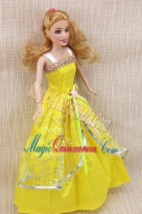 Elegant Party Dress with Yellow Taffeta Made to Fit the Barbie Doll