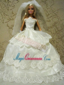 Embroidery Decorate Ball Gown Wedding Clothes Barbie Doll Dress