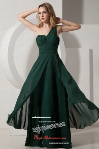 One Shoulder Dark Green Chiffon Mother Dress Ruched under 100