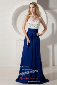 Sweetheart White And Royal Blue Beading Brush Mother Dress