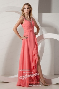 Watermelon Red Empire V Neck Floor Length Chiffon Beading Mother Dress