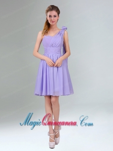 Gorgeous Mini Length Lavender Dama Dress with Ruching and Handmade Flower