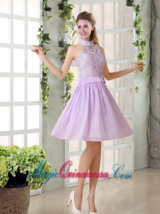 High Neck Lilac A Line Lace Dama Dress Chiffon for 2015