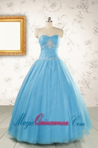 2015 New Style Beading Sweet 15 Dresses in Aqua Blue