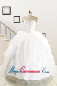 Exquisite Appliques White Brush Train Quinceanera Dresses for 2015