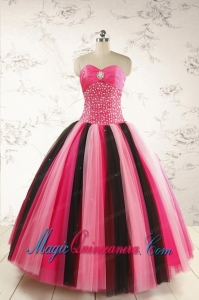 Unique Multi-color 2015 Quinceanera Dresses with Beading