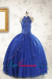 2015 HalterTop Appliques and Beading Dresses For 15 in Royal Blue
