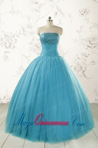 Cheap Strapless Quinceanera Dresses with Beading for 2015