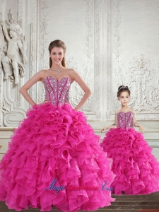 Fuchsia Sweetheart Princesita Dress with Beading and Ruffles