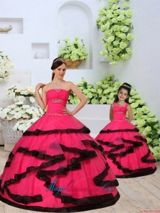 Beading and Ruching Organza Red Princesita Dress with Layers