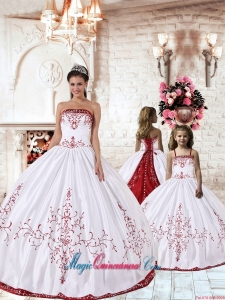 White Strapless Princesita Dress with Red Embroidery for 2014