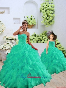 2015 Fashionable Organza Turquoise Princesita Dress with Beading and Ruffles