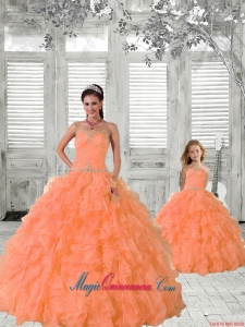 2015 Top Seller Beading and Ruffles Princesita Dress in Orange