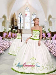 Custom Made White and Green Princesita Dress with Embroidery for 2015