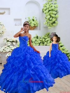 Customize Beading and Ruffles Princesita Dress in Royal Blue for 2015