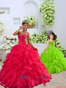 New Style Organza Coral Red Princesita Dress with Beading and Ruffles for 2015