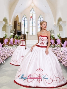 Pretty Embroidery White and Wine Red Princesita Dress for 2015