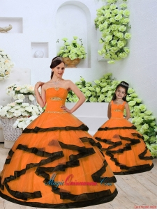 2015 Unique Beading and Ruching Princesita Dress in Orange