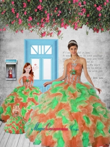 Exclusive Orange and Red Princesita Dress with Appliques and Ruffles for 2015