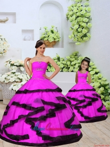 Luxurious Beading and Ruching Organza Fuchsia Princesita Dress
