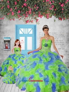 Remarkable Appliques and Ruffles Multi-color Princesita Dress
