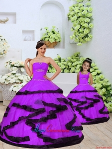 Top Seller Beading and Ruching Princesita Dress in Eggplant Purple for 2015