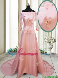 2017 Beautiful A Line Square Brush Train Applique Dama Dress with Long Sleeves