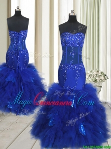 2017 Beautiful See Through Mermaid Beaded and Sequined Ruffled Dama Dress in Royal Blue