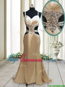 2017 Gorgeous Cut Out Waist Mermaid Straps Criss Cross Dama Dress in Elastic Woven Satin