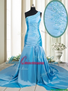 2017 Lovely Zipper Up Mermaid One Shoulder Applique Dama Dress with Brush Train