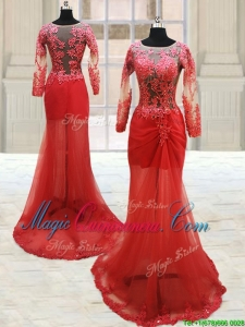 2017 Popular Scoop Laced Column Brush Train Red Dama Dress with Long Sleeves