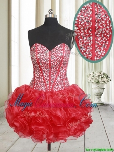 2017 Top Seller Visible Boning Beaded Bodice and Ruffled Red Dama Dress in Organza