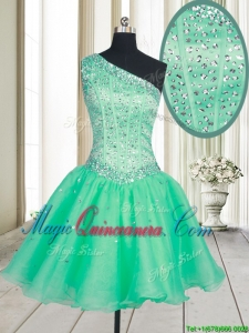 2017 Visible Boning One Shoulder Beaded Bodice Organza Dama Dress in Turquoise