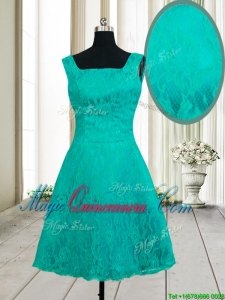 Latest A Line Square Zipper Up Turquoise Short Dama Dress in Lace