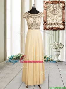 2017 Beautiful See Through Scoop Champagne Chiffon Dama Dress with Cap Sleeves