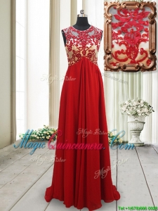 2017 New Arrivals Applique Scoop Brush Train Red Dama Dress with Open Back
