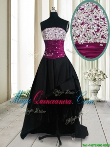 2017 New Style Strapless Beaded Bust High Low Black Dama Dress in Taffeta