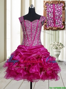 2017 Pretty Visible Boning Straps Beaded Bodice and Ruffled Dama Dress in Fuchsia