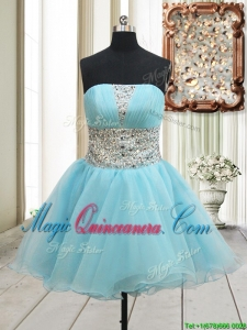 Lovely A Line Strapless Zipper Up Aqua Blue Dama Dress with Beading