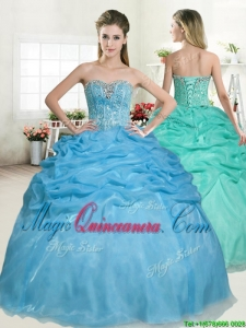 Best Selling Beaded and Pick Ups Quinceanera Dress in Baby Blue