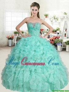 Classical Apple Green Sweet 16 Dress with Beading and Ruffles for Spring