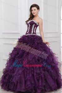 Appliques and Ruffles Sweetheart Dark Purple Quinceanera Dress